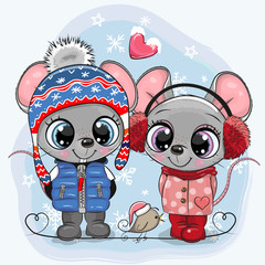 Mouses Boy and Girl in hats and coats