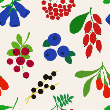 Seamless Pattern With Colorful Berries.