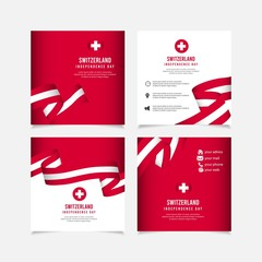 Switzerland independence day vector template. Design for banner; greeting cards or print.