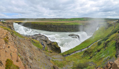 """Gullfoss (""""Golden Falls"""") -  a waterfall located in the canyon of the Hvítá river in southwest Iceland."""
