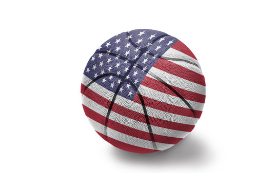 basketball ball with the national flag of united states of america on the white background