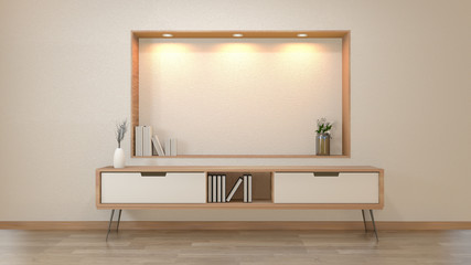 cabinet and decoration in modern zen empty room,minimal designs shelf wall, 3d rendering Wall mural