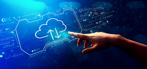 Cloud computing with hand pressing a button on a technology screen Wall mural