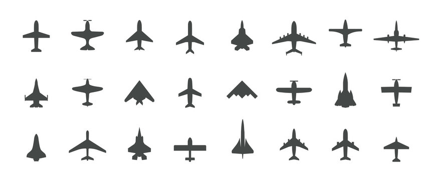 Aircraft top view icon set. Set of black silhouette airplanes, jets, airliners and retro planes icons. Isolated vector logos template on white background.