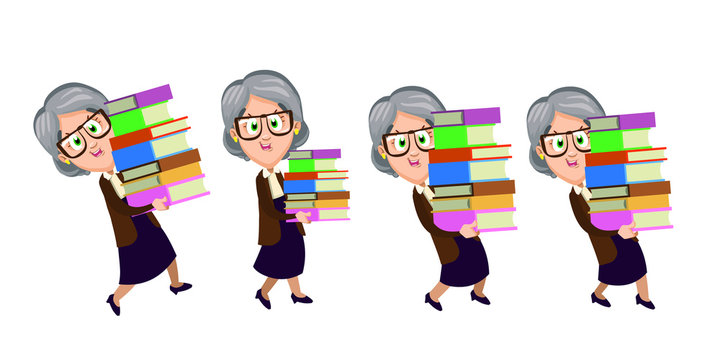 Senior woman in knitted jacket holding books and going to somewhere. Smiling elderly teacher, librarian carrying workbooks. Set of cute grannies. Vector cartoon isolated on white background.