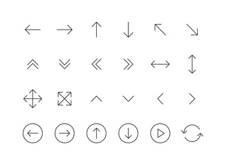 Wall Mural - Set of 24 Arrows web icons in line style. Arrow, arrows. Vector illustration.