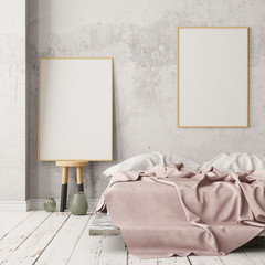 Mockup bedroom interior in the Scandinavian style. 3d render. Mockup poster