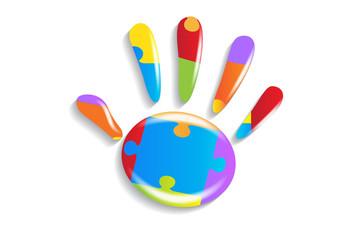 Logo children hand puzzle