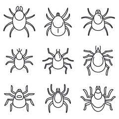 Dust mite icons set. Outline set of dust mite vector icons for web design isolated on white background