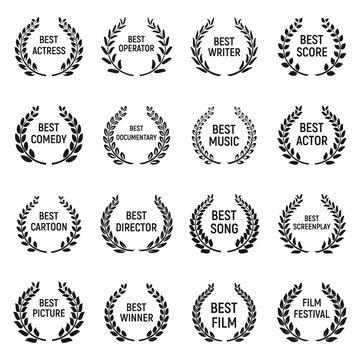 Film festival icons set. Simple set of film festival vector icons for web design on white background