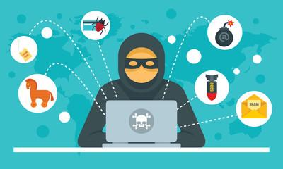 Cyber attack concept background. Flat illustration of cyber attack vector concept background for web design - fototapety na wymiar