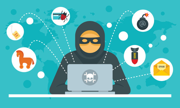 Cyber attack concept background. Flat illustration of cyber attack vector concept background for web design