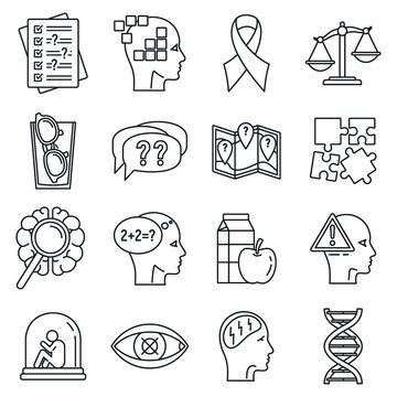 Aging alzheimer disease icons set. Outline set of aging alzheimer disease vector icons for web design isolated on white background