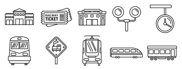 Railway train station icons set. Outline set of railway train station vector icons for web design isolated on white background Fotomurales