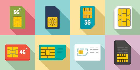 Sim phone card icons set. Flat set of sim phone card vector icons for web design