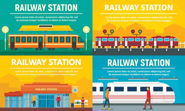 Railway station banner set. Flat illustration of railway station vector banner set for web design