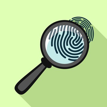 Fingerprint under magnifying glass icon. Flat illustration of fingerprint under magnifying glass vector icon for web design