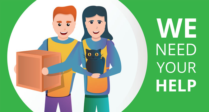 Volunteer we need your help concept banner. Cartoon illustration of volunteer we need your help vector concept banner for web design