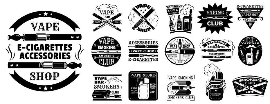 Electronic cigarette logo set. Simple set of electronic cigarette vector logo for web design on white background