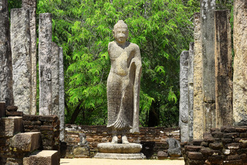 Sacred Quadrangle with standing statue of Lord buddha and stone pillars, Ancient ruins Sri Lanka, Unesco ancient city Polonnaruwa, Sri Lankauwa, Sri Lanka Fototapete