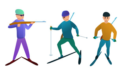Biathlon icons set. Cartoon set of biathlon vector icons for web design