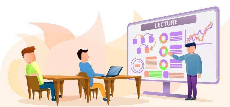 Lecture class concept banner. Cartoon illustration of lecture class vector concept banner for web design