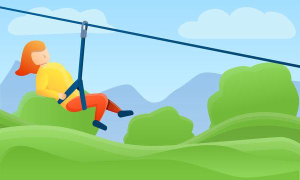 Zip line rope concept banner. Cartoon illustration of zip line rope vector concept banner for web design