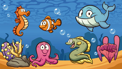 Cartoon sea creatures clip art. Vector illustration with simple gradients. Some elements on separate layers.