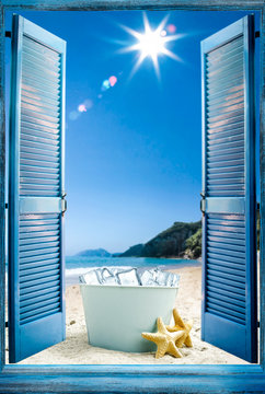 Blue wooden retro open window. Summer landscape of beach with sea and blue sun. Container of cold ice and free space for your product or bottle.