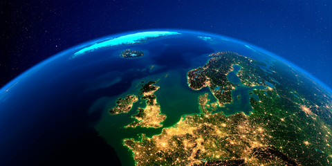 Detailed Earth at night. Europe. United Kingdom and the North Sea Wall mural
