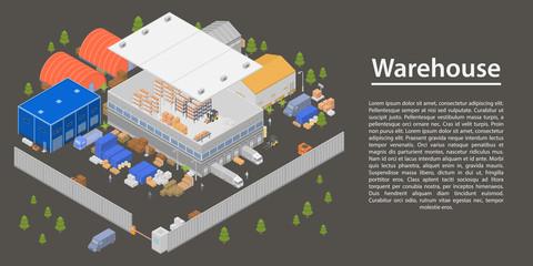 Modern warehouse concept banner. Isometric illustration of modern warehouse vector concept banner for web design
