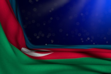 pretty holiday flag 3d illustration. - dark picture of Azerbaijan flag lying flat in corner on blue background with soft focus and free place for content