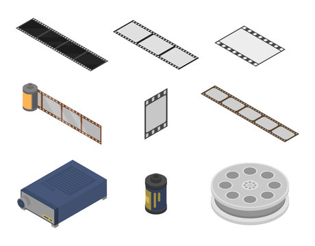 Filmstrip icons set. Isometric set of filmstrip vector icons for web design isolated on white background