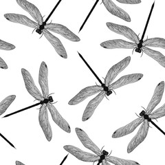Beautiful seamless pattern with Dragonflies. Vector illustration.
