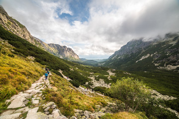 Rocky Mountain Hiking Trail in Mengusovska Valley, High Tatras, Slovakia