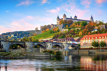 Wurzburg, Germany, Marienberg Fortress and the Old Main Bridge