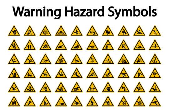 Triangular Warning Hazard Symbols labels On White Background