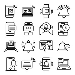 Notification icons set. Outline set of notification vector icons for web design isolated on white background