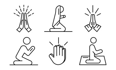 Prayer icons set. Outline set of prayer vector icons for web design isolated on white background
