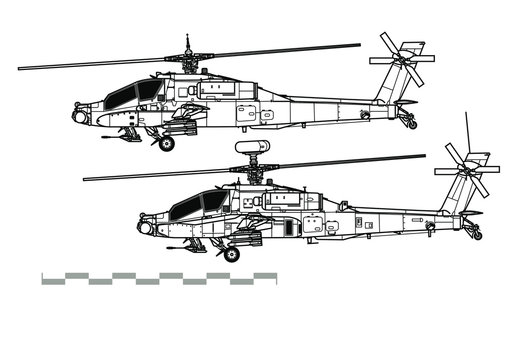 McDonnell Douglas AH-64 Apache. Outline vector drawing
