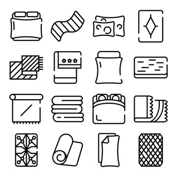 Blanket icons set. Outline set of blanket vector icons for web design isolated on white background