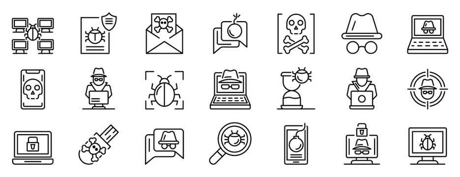 Hacker icons set. Outline set of hacker vector icons for web design isolated on white background