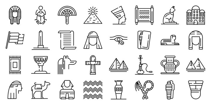 Egypt icons set. Outline set of Egypt vector icons for web design isolated on white background