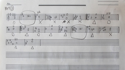 Handwritten musical notes, music theory exercise on paper