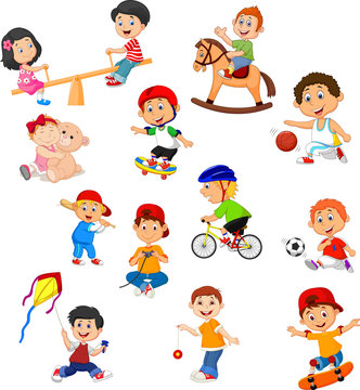 Set of kids with different sport activities