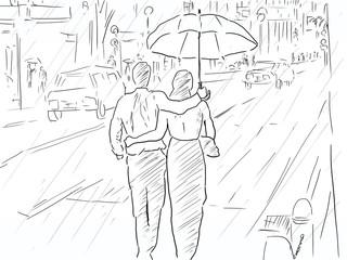 雨の日の街と傘をさすカップル。恋愛、恋、幸せイメージ。線画、ラフ画、塗りなし