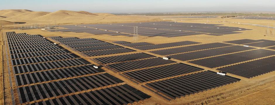 Photovoltaic solar panels field spread in California