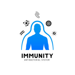Immune system vector icon logo. Health bacteria virus protection. Medical prevention human germ