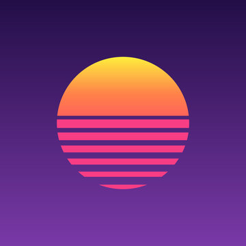 80s sunset retro neon background. 90s poster electro sun space vintage grid sunset icon