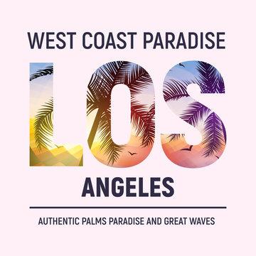 California Los Angeles beach graphic design t shirt print typography. Tree surf LA city illustration summer